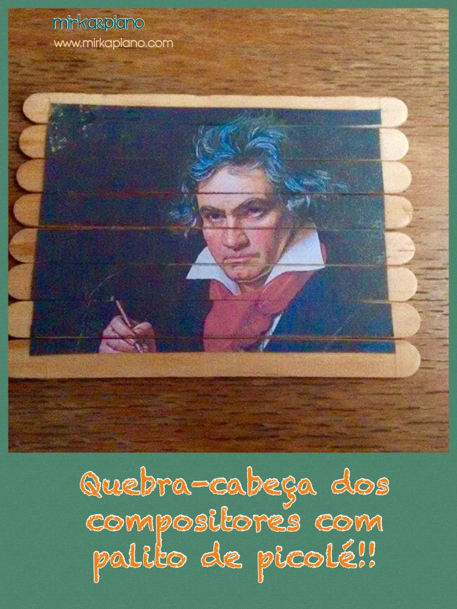 Quebra-cabeça dos compositores com palito de picolé! 😃